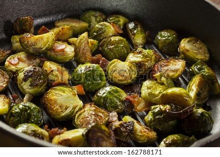 Homemade Grilled Brussel Sprouts with Fresh Bacon - stock photo