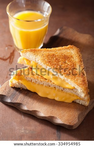 homemade grilled cheese sandwich for breakfast - stock photo