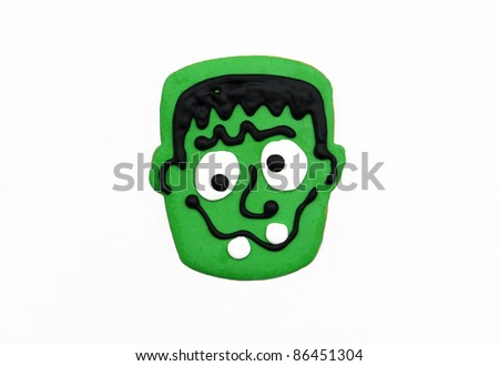 Homemade Halloween Frankenstein Sugar Cookie isolated on white background - stock photo