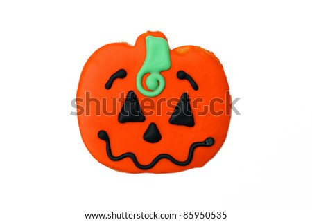 Homemade Halloween Pumpkin Sugar Cookie isolated on white background - stock photo