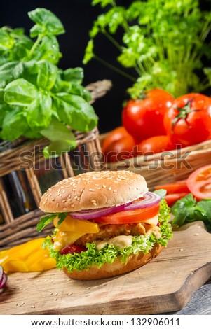 Homemade hamburger made from fresh vegetables - stock photo
