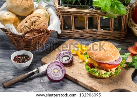 Homemade hamburger with chicken and onion