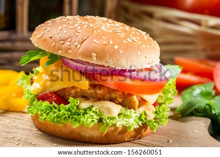 Homemade hamburger with chicken, tomato  and onion - stock photo