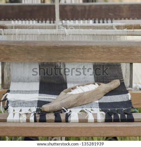 Homemade hand weaving cotton Thailand - stock photo