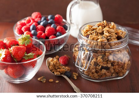 homemade healthy granola in glass jar and berries - stock photo