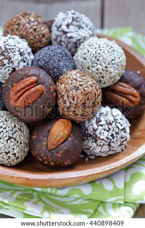 Homemade Healthy Paleo Raw Energy Balls with Nuts and Dates - stock photo