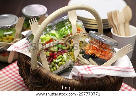 homemade healthy salad in glass jar - stock photo