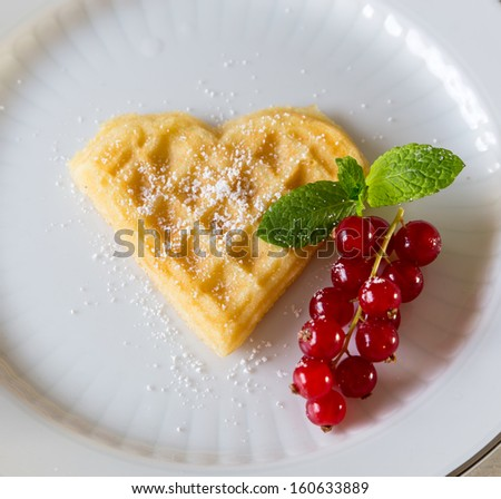 homemade heart-shaped waffle - stock photo