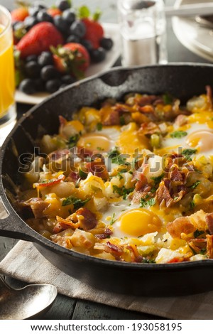 Homemade Hearty Breakfast Skillet with Eggs Potatoes and Bacon