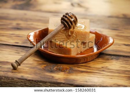 Homemade honey soap - stock photo
