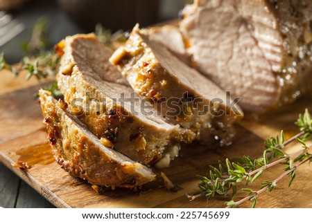 Homemade Hot Pork Tenderloin with Herbs and Spices - stock photo