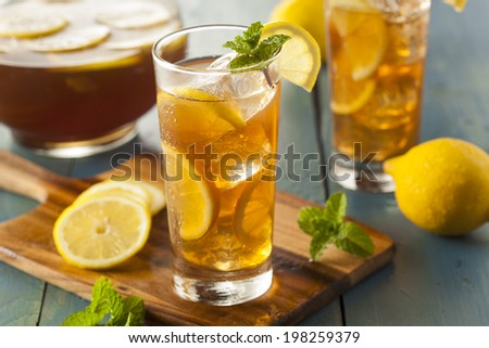 Homemade Iced Tea with Lemons and Mint - stock photo
