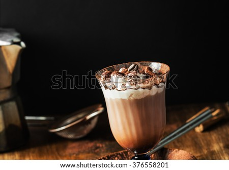 Homemade Irish Coffee with  Whipped Cream. Selective focus. - stock photo