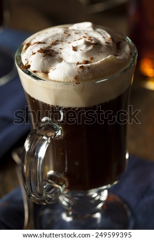 Homemade Irish Coffee with Whiskey and Whipped Cream - stock photo