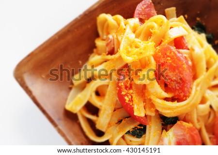 ... karasumi fettuccine pasta homemade italian cuisine tomato and karasumi