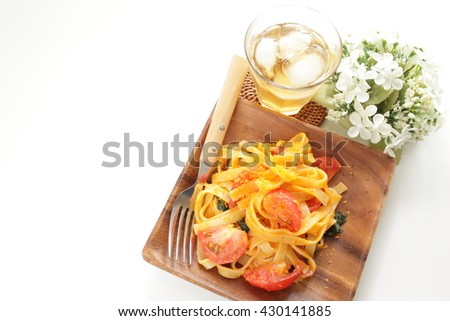 karasumi fettuccine pasta homemade italian cuisine tomato and karasumi ...