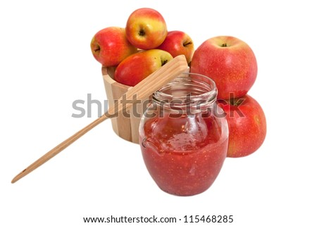 Homemade jam with autumn apples isolated on white background