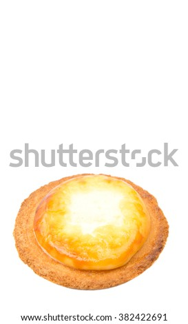 Homemade Japanese cheese tart over white background
