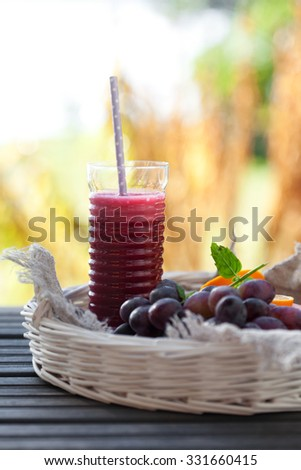 Homemade juice from fresh fruit and vegetable - stock photo