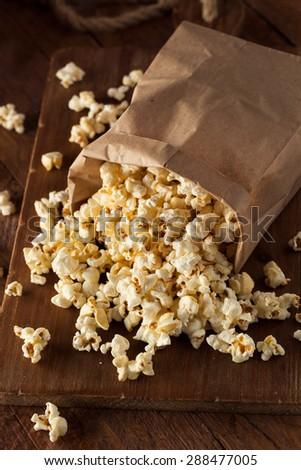 Homemade Kettle Corn Popcorn in a Bag - stock photo