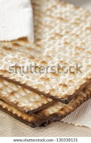 Homemade Kosher Matzo Crackers made with flour and water