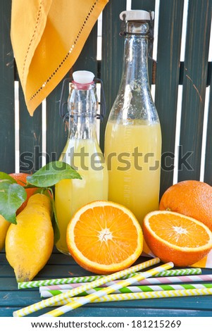 Homemade lemonade from organic lemons and oranges