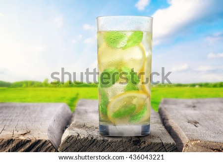 Homemade lemonade on the table - stock photo