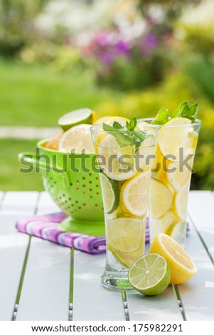 Homemade lemonade with fresh citruses - stock photo