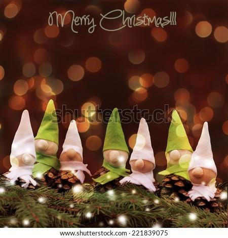 homemade  little elves.Decoration for Christmas time - stock photo