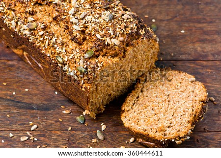 Homemade low carb Dukan bread with pumpkin and flax seeds.