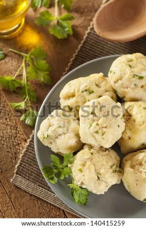 Homemade Matzo Ball Dumplings with Parsley for passover - stock photo