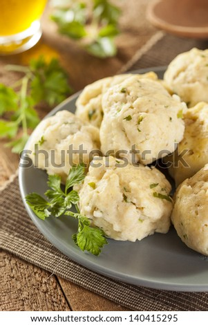 Homemade Matzo Ball Dumplings with Parsley for passover - stock photo