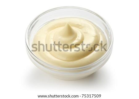 homemade mayonnaise on white background - stock photo