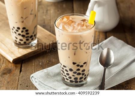 Homemade Milk Bubble Tea with Tapioca Pearls - stock photo