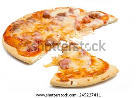 Homemade mixed sausage pizza - stock photo