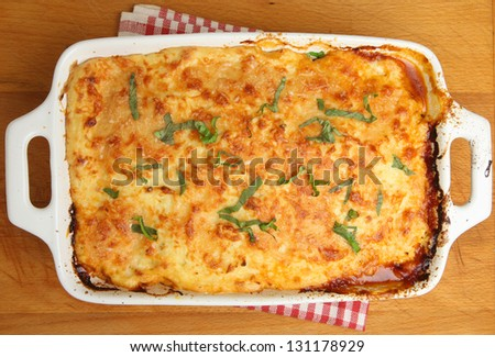Homemade moussaka straight from the oven. - stock photo