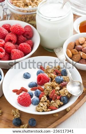 homemade muesli with fresh berries and yogurt, vertical, top view, close-up - stock photo