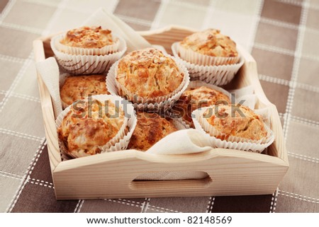 homemade muffins with ham and cheese - food and drink