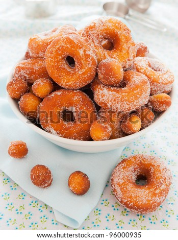 Homemade nature donut in a bowl. Shallow depth of field. - stock photo