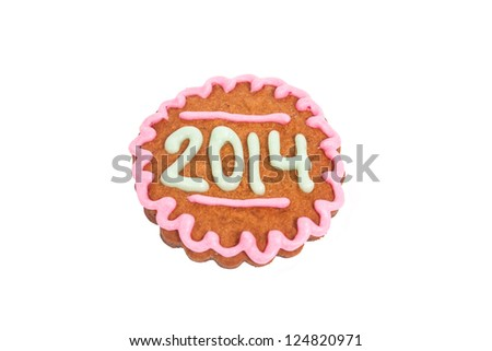 Homemade new year cookie isolated on white with 2014 number - stock photo