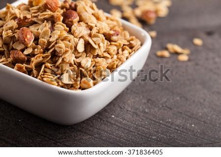 Homemade Nutty Cinnamon Granola with Honey close shot - stock photo