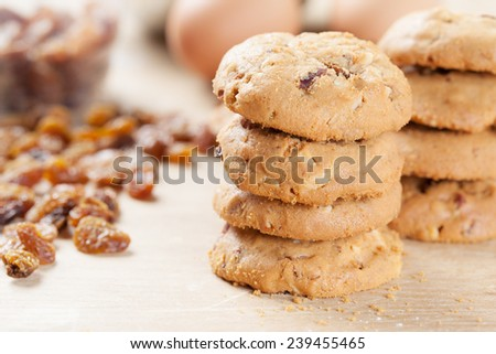 homemade oat cookie with raisin stack  - stock photo
