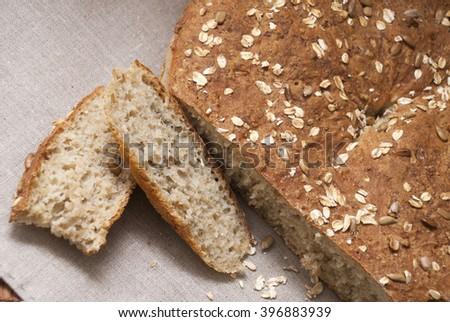 Homemade oatmeal bread - stock photo
