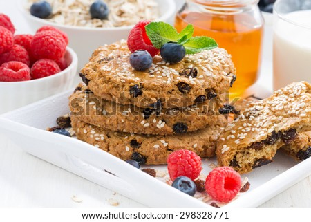 homemade oatmeal cookies for a healthy breakfast, close-up, horizontal - stock photo