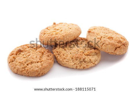 homemade oatmeal cookies isolated on white background - stock photo
