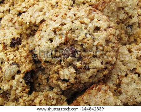 homemade oats cookies with raisins - stock photo