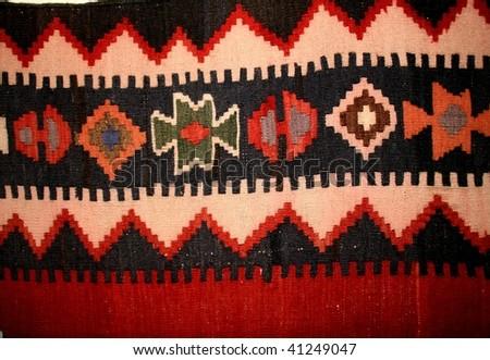 homemade old carpet ornaments,armenia - stock photo