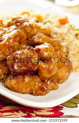 Homemade Orange Chicken with Rice on a background - stock photo