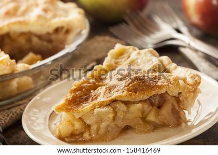 Homemade Organic Apple Pie Dessert Ready to Eat - stock photo