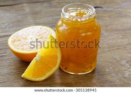 homemade organic orange marmalade jam with orange zest - stock photo